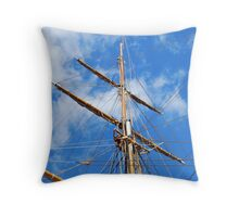 Sailing ship in the port Throw Pillow