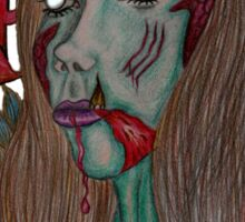 Zombie Apocalypse Lady  Sticker