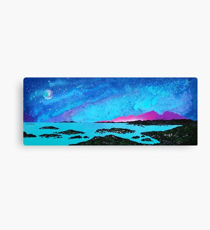 Moon Light Over Rum And Sanna Bay, Ardnamurchan Peninsula.40 Canvas Print