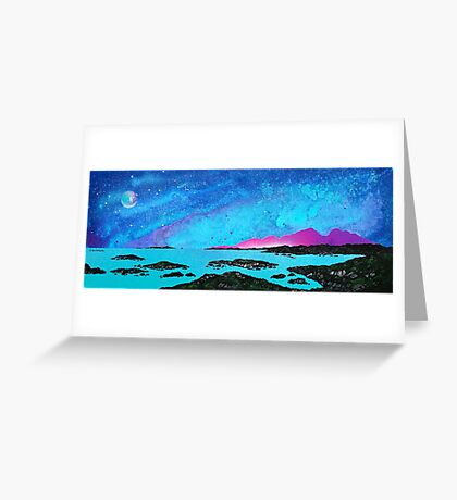 Moon Light Over Rum And Sanna Bay, Ardnamurchan Peninsula.40 Greeting Card