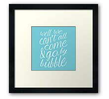 Come & Go By Bubble Framed Print