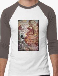 Kaiju, Samurai, Art, Monster, Godzilla, drawing, ultraman, gamera, japanese, sci fi, horror, science fiction, japan, sword, joe badon Men's Baseball ¾ T-Shirt
