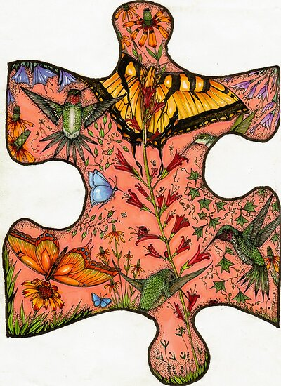"Puzzle Collaboration Piece ""Just another piece in the puzzle of life"" by Catherine  Howell"