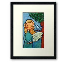 Blond angel with two blue birds Framed Print