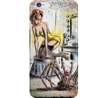 Pin Up, Girl, The Thing, Art, Print, Spider, Head, 50's, Elvgrin, Elvgren, John Carpenter, Dressing Room, Joe Badon, illustration, drawing, sexy, horror iPhone Case/Skin