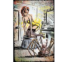 Pin Up, Girl, The Thing, Art, Print, Spider, Head, 50's, Elvgrin, Elvgren, John Carpenter, Dressing Room, Joe Badon, illustration, drawing, sexy, horror Photographic Print
