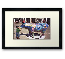 CONTEST: what does he say to the cow? Framed Print