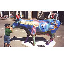 CONTEST: what does he say to the cow? Photographic Print