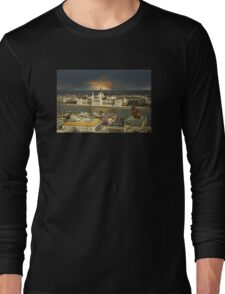 Budapest parliament with dramatic sky Long Sleeve T-Shirt