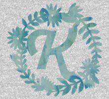 K - Blue Watercolor Monogram Kids Clothes