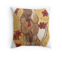 Poodle with Wine Glass w/o border Throw Pillow