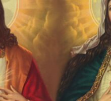 sacred heart of jesus and saint mary Sticker