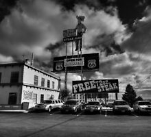 Route 66 - The Big Texan 002 BW by Lance Vaughn