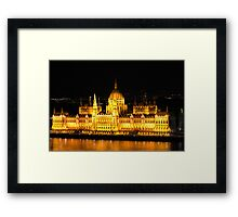 The Houses of Parliament by Night in Budapest, HUNGARY Framed Print