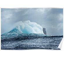 Huge Wave breaks past Eddistone Rock, off the coast of Tasmania Poster