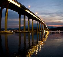 Spectaular Tasman Bridge with a sunset by andychiz