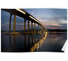 Spectaular Tasman Bridge with a sunset Poster