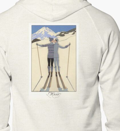 L Hiver, Winter kissing couple fashion illustration Zipped Hoodie