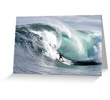 A surfer tackles the notorious Shipstern Bluff Greeting Card