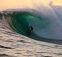 Sandy Ryan in a massive barrel at Shipstern Bluff in Tasmania by andychiz