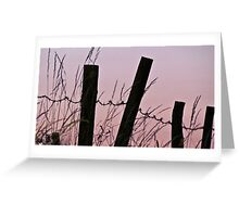 Sunrise in the country with barbed wire Greeting Card