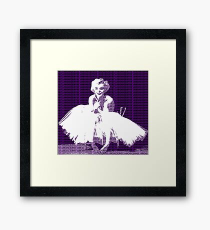 Marilyn Monroe in white dress with purple text Framed Print