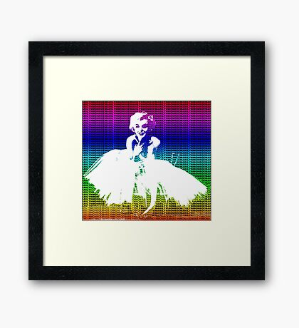 Marilyn Monroe in white dress with multicolour text Framed Print
