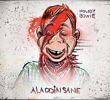 Howdy, Bowie, Art, Howdy Doody, David Bowie, Aladdin Sane, Ziggy Stardust, Illustration, Poster, Picture, puppet, marionette, children's, child, tv show, David Robert Jones, joe badon by Joe Badon