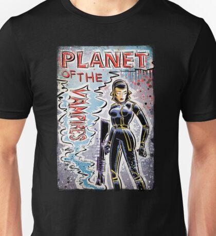Planet of the Vampires, vampire, art, alien, aliens, sci fi, science fiction, horror, space, girl, Terrore, nello, spazio, joe badon, mario bava, Evi Marandi, blaster, gun Unisex T-Shirt