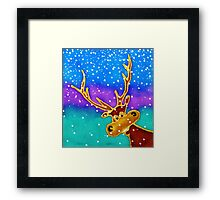 colourful cartoon Silly Stag in the snow. Framed Print