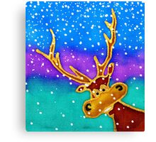 colourful cartoon Silly Stag in the snow. Canvas Print