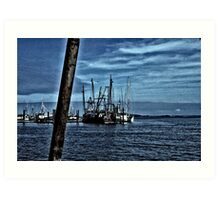 Fishing Boats In Harbor Art Print