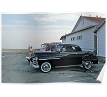 Classic 50's Plymouth Coupe at the Beach Poster