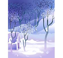 The beauty of hut in the snowy evening	 Photographic Print
