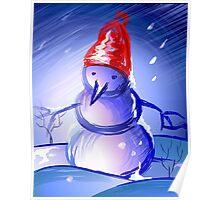 Snow man dancing in an enchanting mood Poster