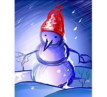 Snow man dancing in an enchanting mood	 Photographic Print