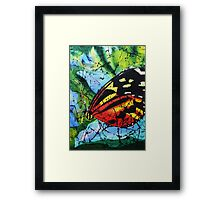 Butterfly on silk Framed Print