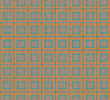 Modern Vibrating Complimentary Mustard Yellow and Turquoise Stacked Squares Tile Pattern by jocelynsart