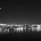 Bolte and the moon B&W by Anthony Hennessy