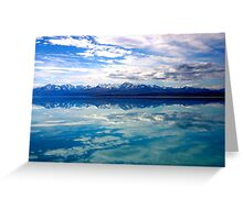 New Zealand lake and mountains landscape Greeting Card