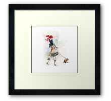 beautiful girl in pink winter scarf  Framed Print