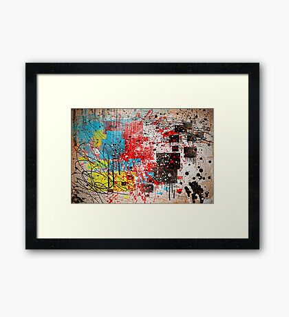 Abstract, Splatter, Paint, Print, Thrown paint, jackson pollock, painting, art, picture, poster, drip, aged, expressionist, pop art, liquid, action, joe badon Framed Print