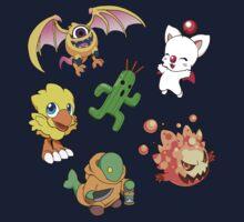 Final Fantasy Mascots - Moogle, Bomb, Tonberry, Chocobo, Ahriman, Cactuar One Piece - Long Sleeve