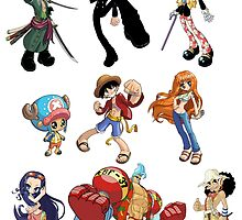 One Piece Crew - Roronoa Zoro, Sanji, Brook, Chopper, Luffy, Nami, Nico Robin, Franky, Usopp by 57MEDIA