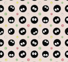 Spirited Away Inspired Soot Sprites Pattern by pidesignprints