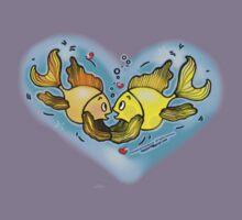 Big Love cute Fish hug in Blue Hart, Kids Tee