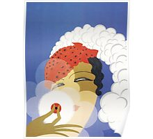 Whimsical French Art Deco cosmetics fashion art Poster
