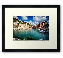 Vernazza  Harbor, Cinque Terre, Liguria, Italy Framed Print