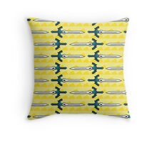 Zelda Inspired Mater Sword with Triforce Pattern Throw Pillow