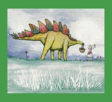 Stegosaurus Flowers One Piece - Short Sleeve